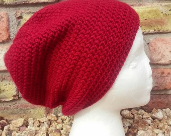 cranberry colored slouchy hat
