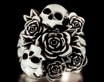 Skull Bouquet Ring Sterling Silver Skulls Flowers Day Of The Dead