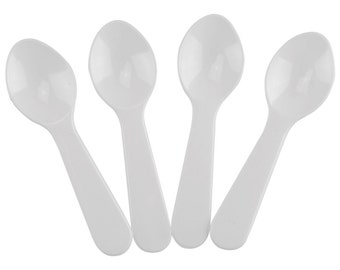 50 Beautiful White Plastic Taster Spoons for Ice Cream, Party Spoons, Birthday Spoons, Holiday Spoons & More! Mini Spoons that you will love