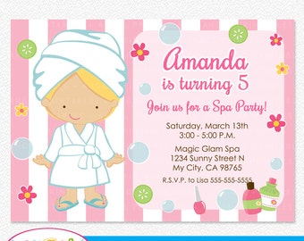 Spa Party Printable Invitation