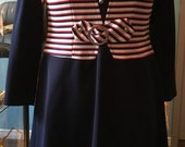 Vintage Jeunesse by Hannemar Navy Midi Dress Red, White and Blue Striped Upper Detail with Bow Size 11/12