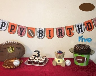 Sports Theme Birthday banner, baseball, football, basketball, soccer