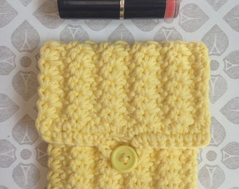 Yellow purse - Pink Purse - Crochet purse - Mini purse - Small purse - Coin purse - Cotton purse - Card purse - Gift for her - Chunky Purse