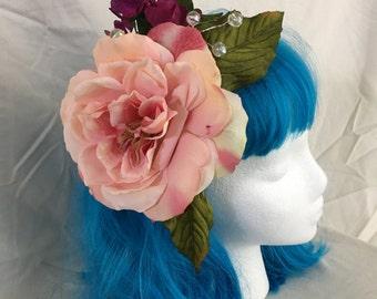 Flower Hair Fascinator Rose Hair Piece Costume Floral Hair Clip Pin Up Burlesque Bridal Hair Accessory