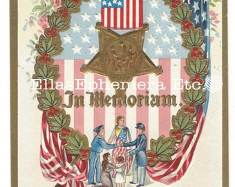 c1910 Embossed Patriotic Postcard IN MEMORIAM  W/Flags, Civil War Soldiers, Lady Liberty, Child, Veteran Memorial Day, Decoration Day Unused