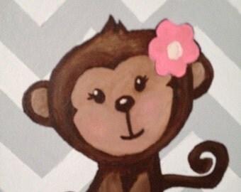 Monkey Painting with Chevron Background
