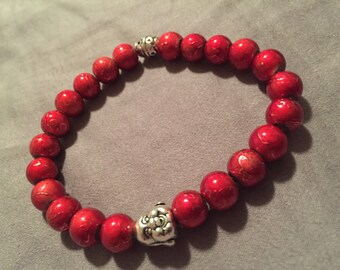 Men's buddha bracelet with red beads amd metal spacer