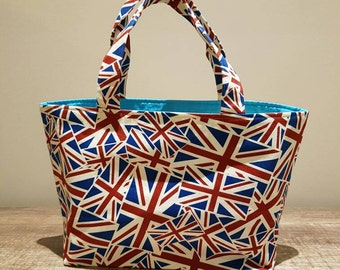 Small union jack fabric tote style bag. union Jack lunch bag, Fabric lunch bag, Union Jack fabric. union jack tote,