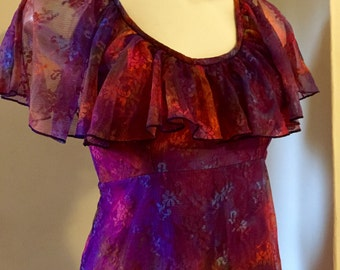 Vintage 1970's multicoloured net dress fully lined with frill top, size 8