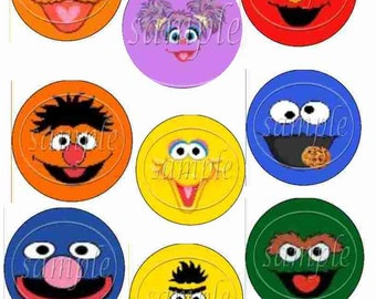 Sesame Street Inspired Cupcake Topper Characters,  Snack and Party Picks, Elmo, Big Bird, Bert, Ernie, Zoe, Cookie Monster, Oscar the Grouch