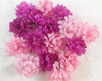 Pink Purple Silk Flower Heads crafting scrapbooking, home decor crafts