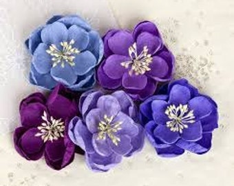 Prima Fabric Flowers Giselle Collection Plum Item 566401 Pretty crafts scrapbooking blue purple card supply supplies lavender slate
