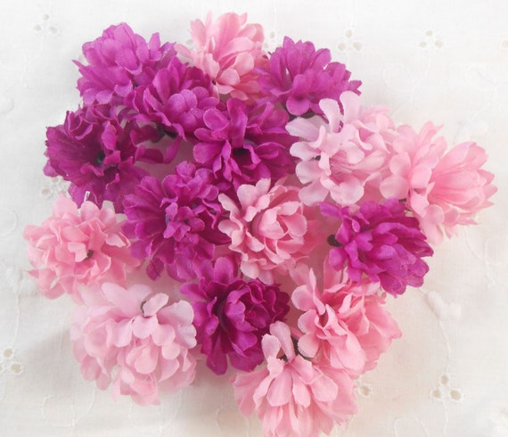 Pink purple silk flower heads crafting scrapbooking home for Flower heads for crafts