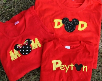 ADULT SIZE  MoM or DaD Mouse Ears Family Disney Vacation Personalized Embroidery Applique Shirt