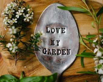 """Upcycled vintage silver plated spoon garden marker - EPNS """"Love my garden"""""""
