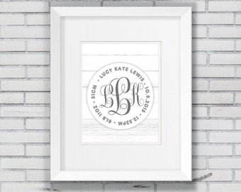 Framed Monogram birth announcement