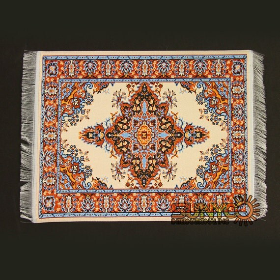 Miniature Rugs Oriental Beige Blue Red Woven Mouse Pad Persian