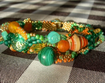 Freeform Peyote Bracelet: Green/Orange 1