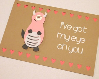 Monster love card, Valentine's Day card, anniversary, blank inside, greeting card, 3D