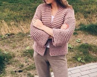 Chunky oversized wool handmade cardigan