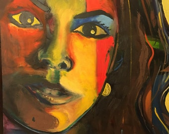 "Original oil on canvas painting girl portraIte size 35"" X 48"""