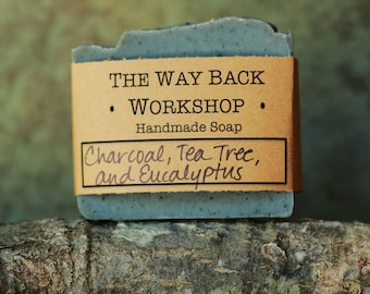 Charcoal, Tea Tree, and Eucalyptus Handmade Cold Process Soap, Vegan