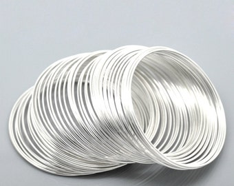 100 Loops Silver Plated Memory Beading Wire 50mm-55mm (B23j)