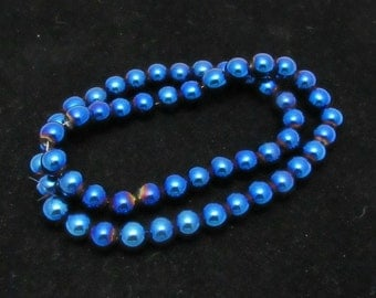 1 Strand 8mm Non-Magnetic Color Plated Hematite Beads  - Blue (B19j3/75d2)