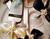 personalized Wedding glasses and Cake Server Set cake knife black & gold bride and groom set of 4 wedding toasting flutes