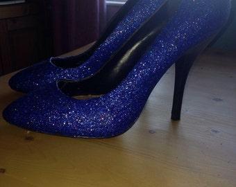 Blue glitter heels, size 7, high heels, sparkle