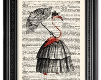 Lady Flamingo, Dictionary art print, Vintage book art print, upcycled dictionary page, Home Wall Decor, Gift poster [ART 103]