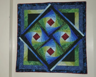 Batik Spiral Quilt Throw Sized