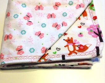 Double sided flannel receiving blanket, Forest wildlife print
