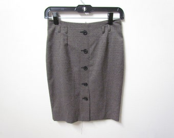 Plaid Buttoned Down Pencil Skirt Size 4