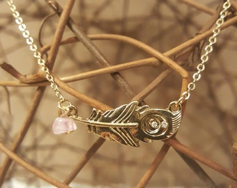 Pink and Gold Feather Necklace