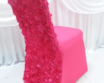 Fushcia bright pink wedding chair cover rosette backed rose party