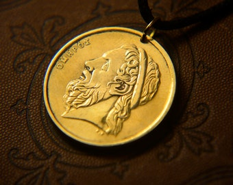Greece. 50 drachmas 1988 (50 DRACHMAE 1988) Сoin jewelry. Mens Necklace, Womens Necklace.