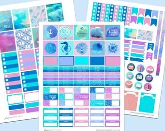 Caribbean Blue, Beach Stickers, Ocean Stickers, Printable Planner Sticker Kit, ECLP, Erin Condren Life Planner, Vertical Weekly Kit, Purples