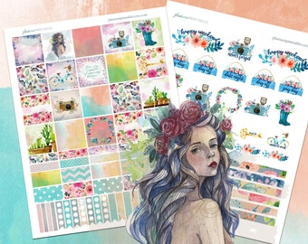 Summer Reverie, Build-a-Box, Boho Printable Planner Stickers, Erin Condren Vertical, Happy Planner, Watercolor floral, Washi, Bohemian