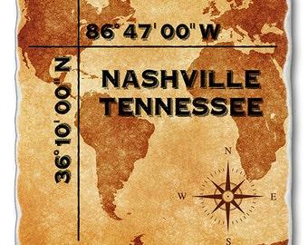 Nashville Tennessee Coordinates Coaster
