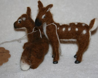 Needle Felted fawn and  deer.
