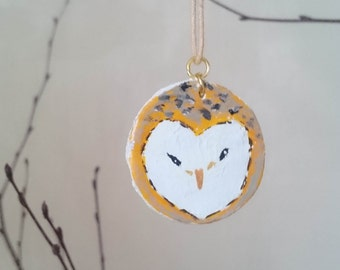 Handmade Clay Barn Owl Necklace, perfect gift