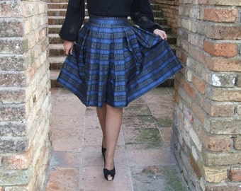 ON SALE pleated blue skirt nuanced blacks square.