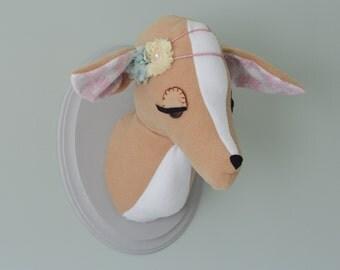 Faux deer taxidermy / woodland nursery / plush deer / faux deer head / woodland decor /