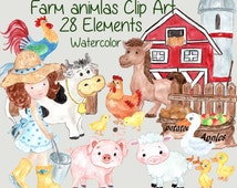 """Farm animals clipart: """"FARM CLIP ART"""" Watercolor animals Barnyard Animals Clipart Farmhouse Clip Art cow pig sheep duck rooster Picket Fence"""