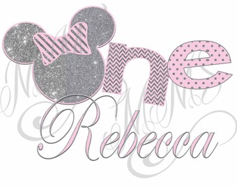 Personalized Minnie Mouse Pink Birthday Silver Glitter Heart 1st 2nd Birthday Iron On Digital Art Graphic Party