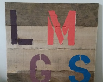 Reclaimed Wood Monogramed Sign (Recycled Pallets)