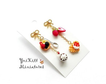 French Cafe/ Miniature Food Earrings/ Miniature Desserts/ Red Berries Strawberry Raspberry Tart/ Food Jewelry