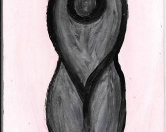 Goddess, dark on pink background