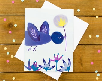 flower card - cute greeting card, bird card, just because card, thank you card, blank card, girlfriend card, friend card